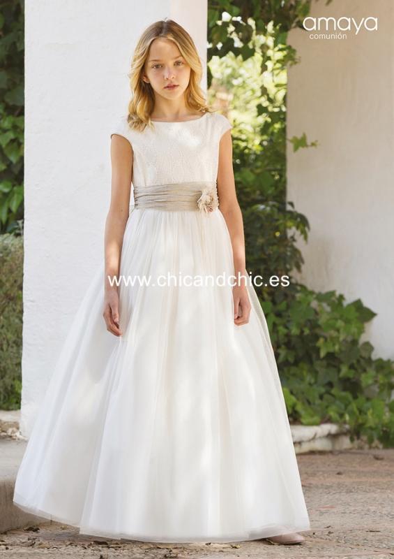 Vestido de comunión 557010MC. Blanco roto-tostado