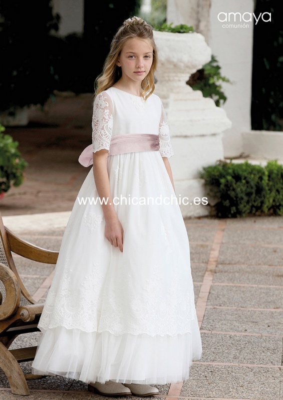 Vestido de comunión 557015MD. Blanco roto-rosa.