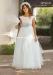 Vestido de comunión 557017MC. Blanco roto-verde agua