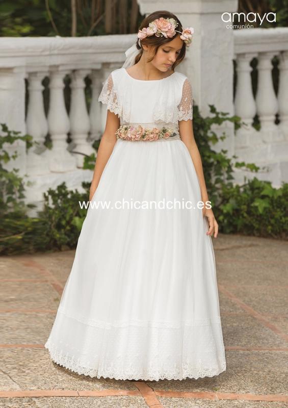 Vestido de comunión 557020MC. Blanco roto-tostado.