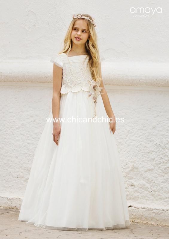 Vestido de comunión 557022MC. Blanco roto.