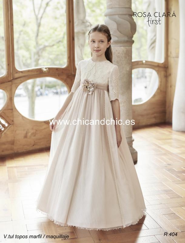 Vestido de comunión R404 Rosa Clará
