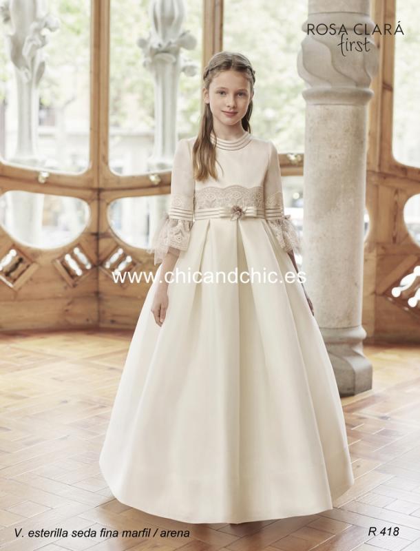 Vestido de comunión R418 Rosa Clará