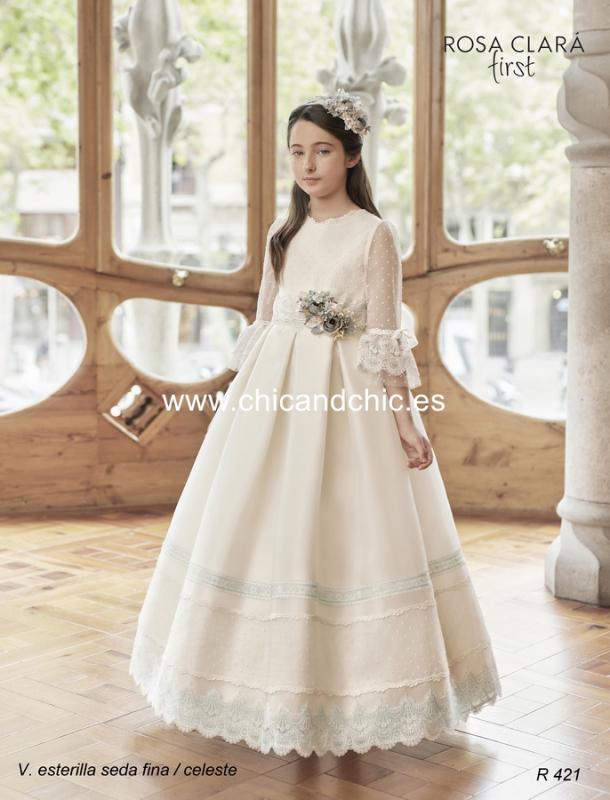 Vestido de comunión R421 Rosa Clará