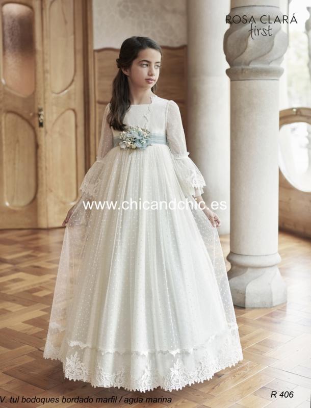 Vestido de comunión R406 Rosa Clará