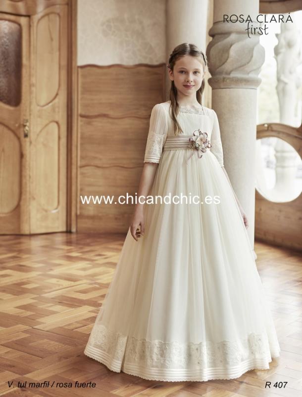 Vestido de comunión R407 Rosa Clará