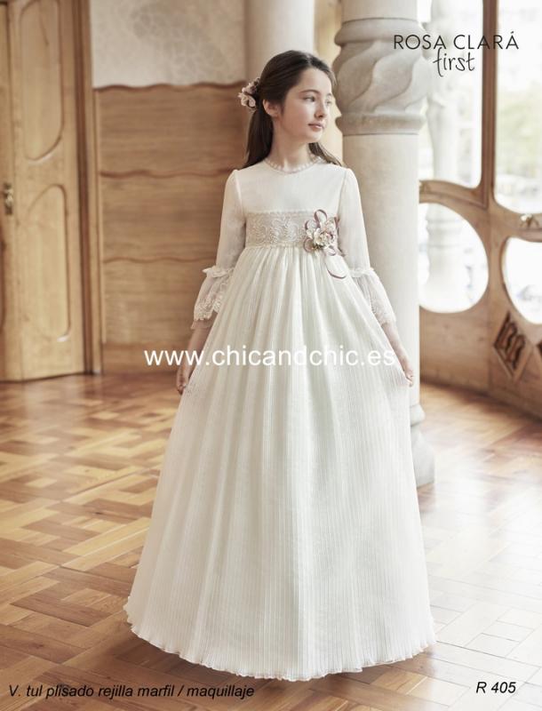 Vestido de comunión R405 Rosa Clará