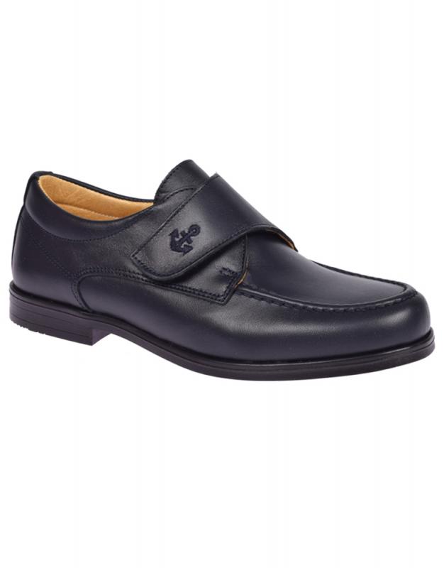 Zapato piel niño color azul marino
