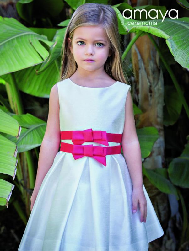 Vestido de arras en seda poliester salvaje crudo-rojo (1-12 años). Más colores disponibles