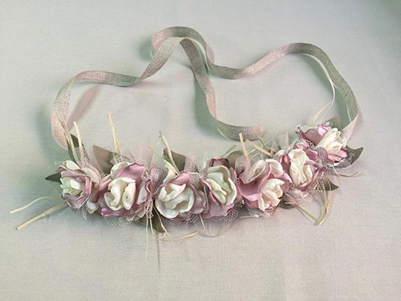 Corona/Cinturón de flores crudo-rosa