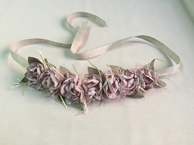 Corona/Cinturón de flores rosa maquillaje