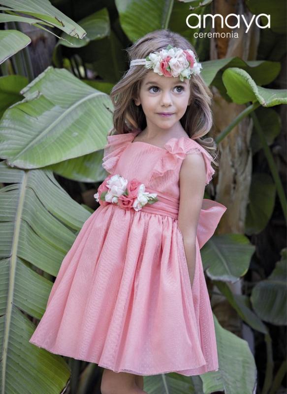 Vestido ceremonia de tul en coral. (1-12 Años)