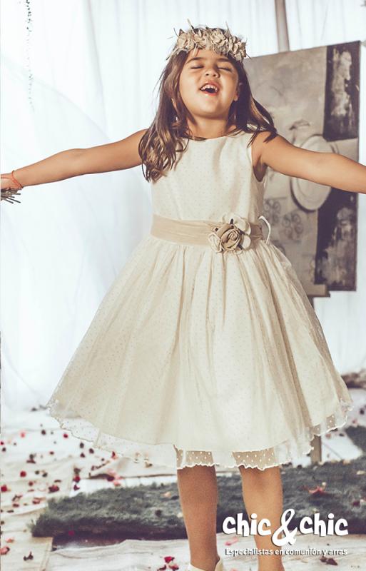 Vestido de tul Aloe Beige (1-10 Años)