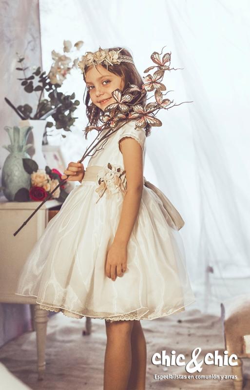 Vestido  Amapola crudo-beige (1-12 Años)
