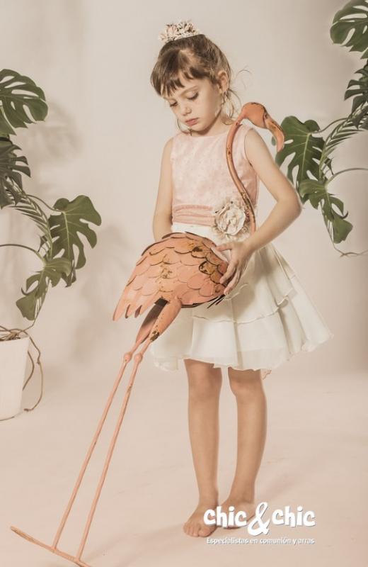 Vestido capas Azalea Rosa(1-16 Años)