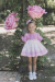 Vestido lino. Blanco-rosa. (2-12 Años)