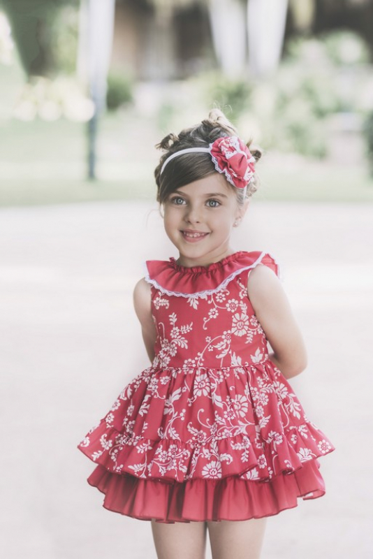 Vestido estampado rojo. (2-12 Años)