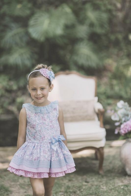 Vestido estampado azul y rosa. (2-12 Años)
