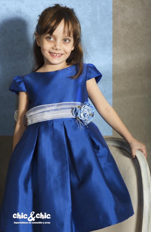 Vestido  Mikado azulón. (1-12 Años)