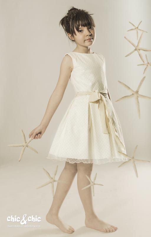 Vestido de tul Azucena Beige (8-16 Años)