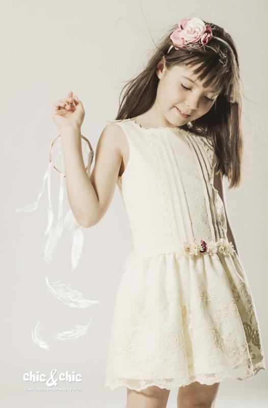 Vestido de plumeti beige 1140900 (2-14 Años)