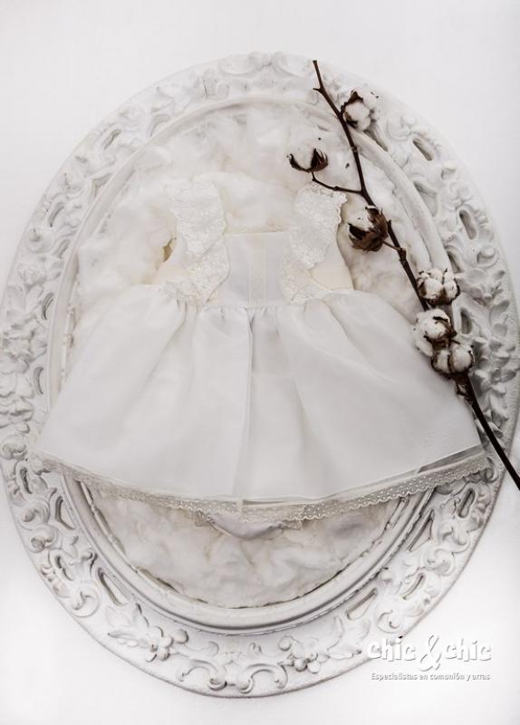 Vestido de ceremonia bebe organza. (3m-36m).