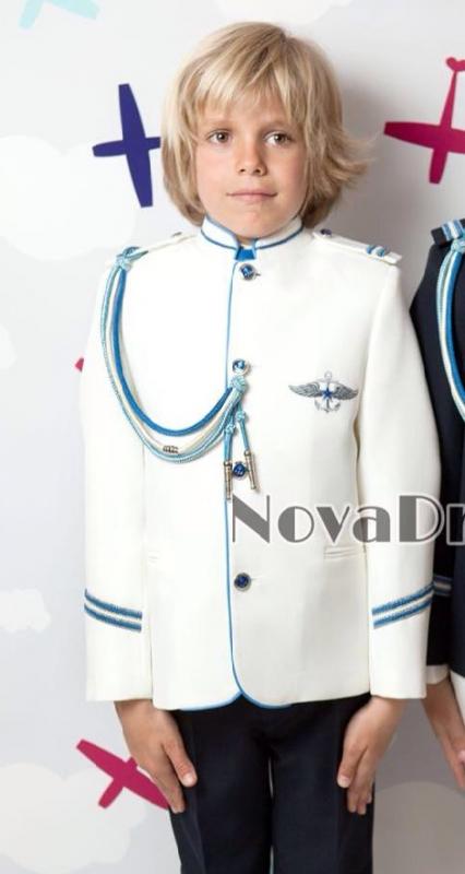 Traje de Comunión Almirante Cuello mao beige/azulón