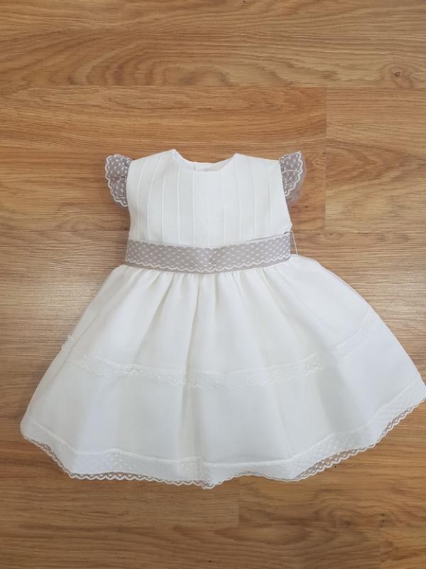 Vestido 361 organza (6-24 meses). Crudo-Visón