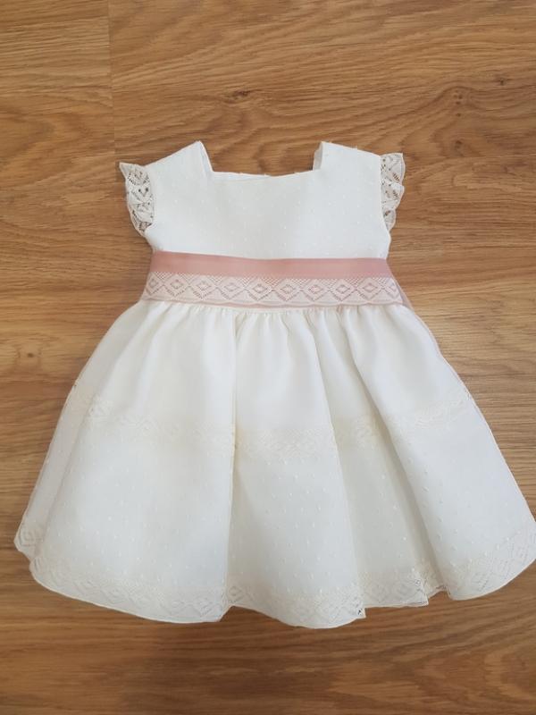 Vestido 755 organza (6-24 meses). Crudo-Rosa