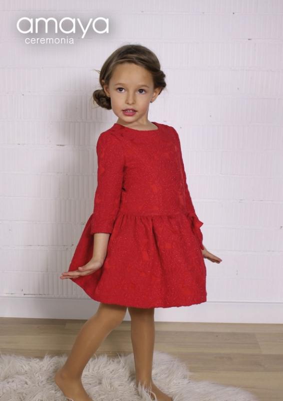 Vestido ceremonia rojo. 210590 (1-12 años)