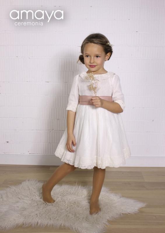 Vestido ceremonia 210579. Blanco roto