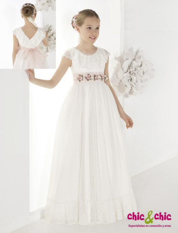 Vestido de comunión 9833. Tul plumeti