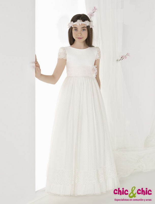Vestido De Comunión 9619 Tul Plumeti