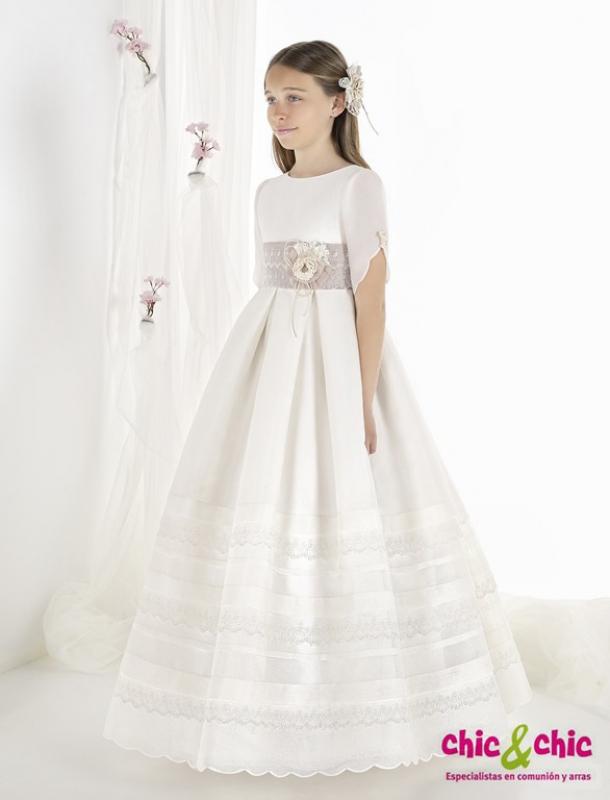 Vestido de comunión 9315. Tejido esterilla
