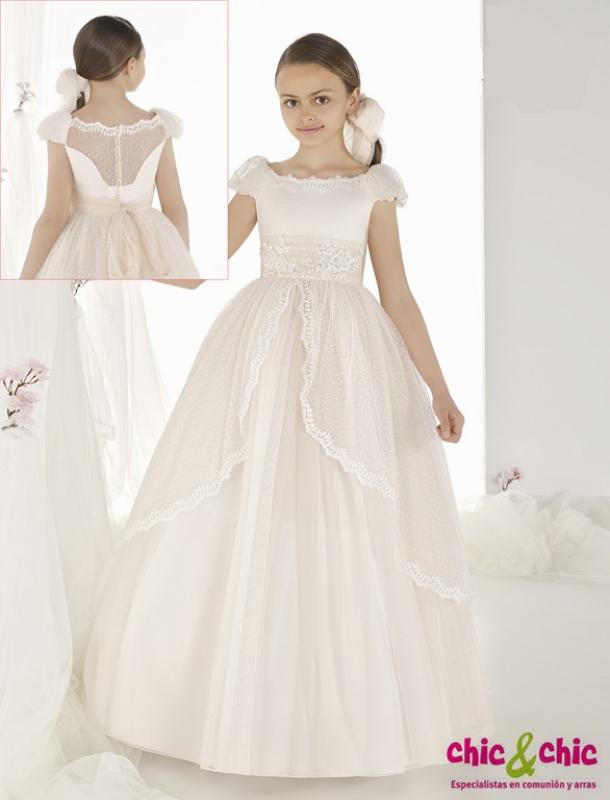 Vestido de comunión fantasía 9502. Organza y tul plumeti.