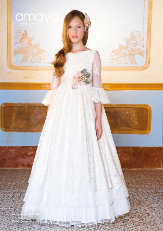 Vestido de comunión 311939MF Amaya. Color Beige