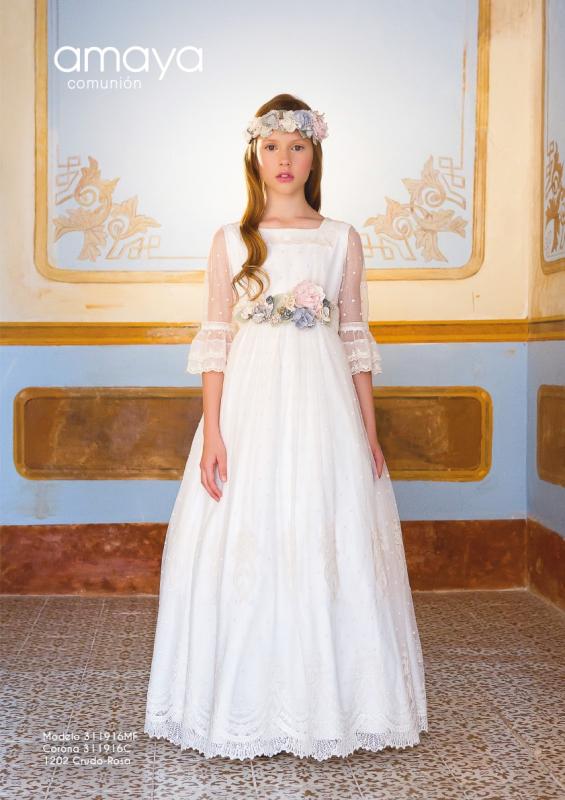 Vestido de comunión 311916MF Amaya. Color Crudo