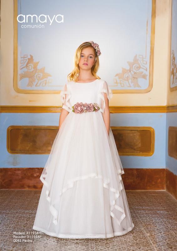 Vestido de comunión 311938MC Amaya. Color Crudo