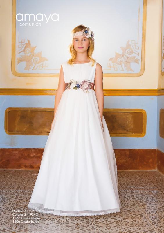 Vestido de comunión 311924SM Amaya. Color Crudo-Malva