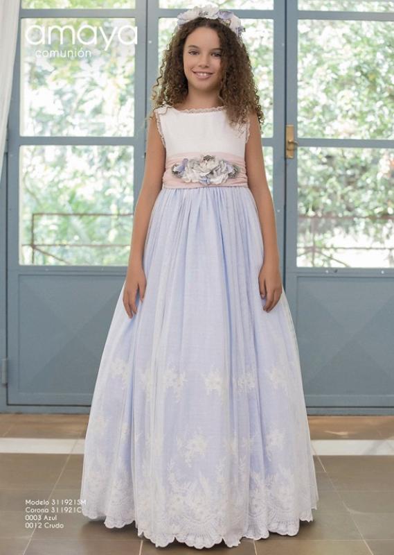 descuento especial cliente primero código promocional Vestido de comunión 311921SM Amaya. Color Azul