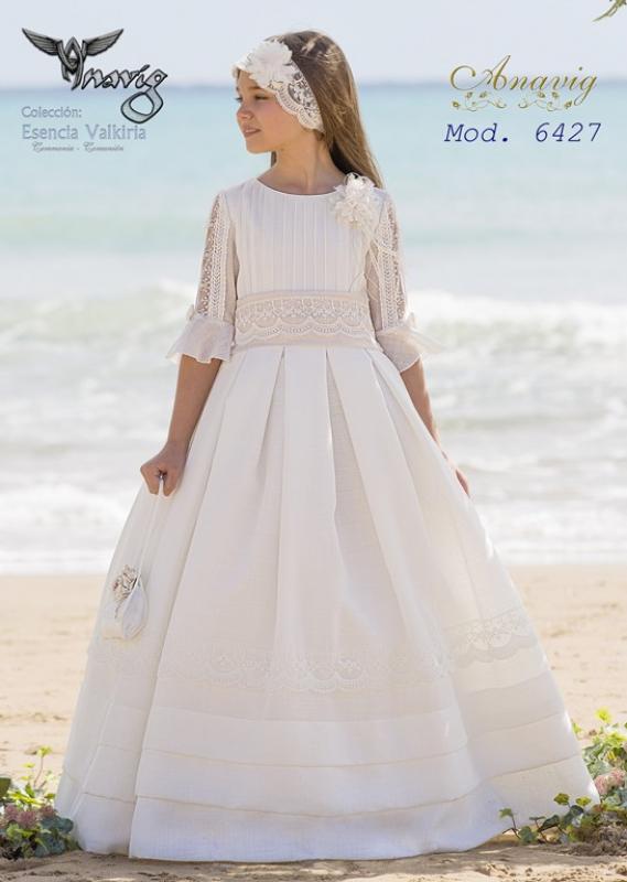 Vestido de comunión 6427 rústico. Color beige claro.