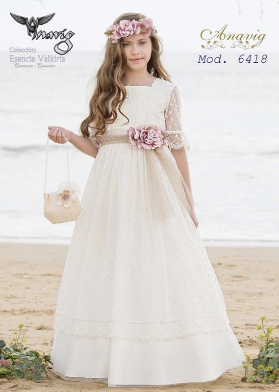 Vestido de comunión tul bordado 6418. Color crudo.