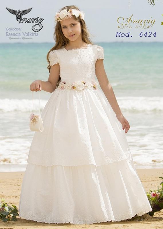 Vestido de comunión plumeti bordado 6424. Última talla 125 (12)