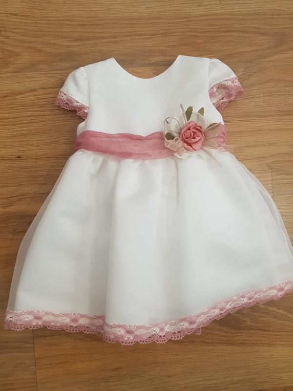 Vestido Amanda en organza. Crudo-rosa (3m-24m)