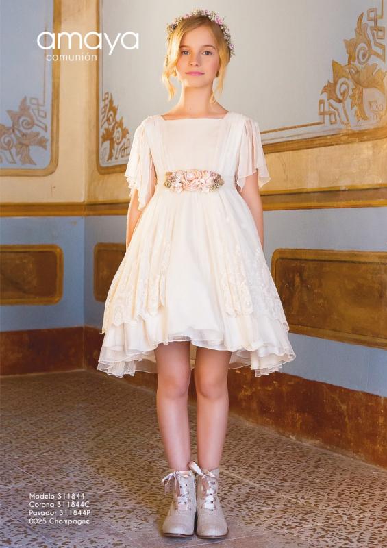 Vestido de comunión corto 311844 Amaya. Color  Champagne