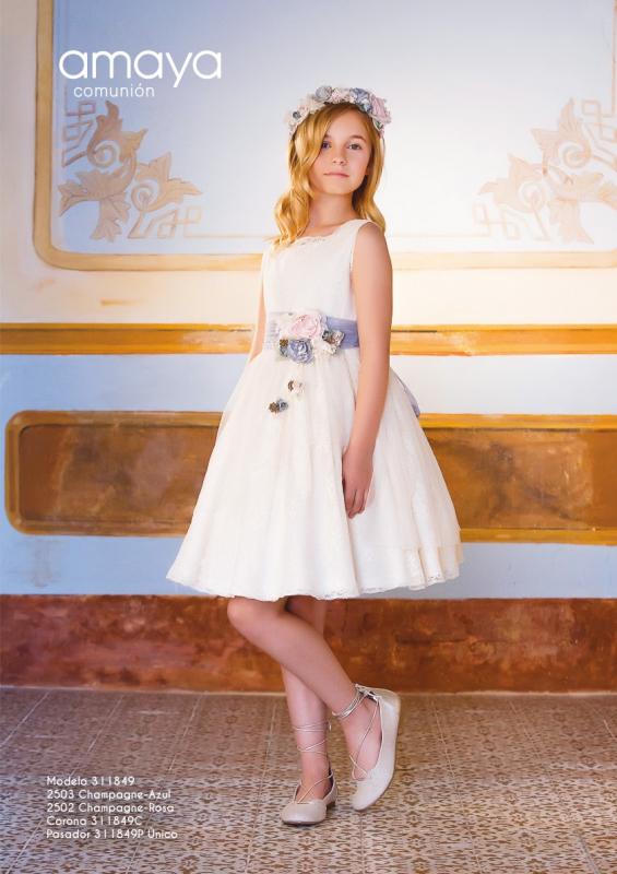 Vestido de comunión corto 311849 Amaya. Color  crudo
